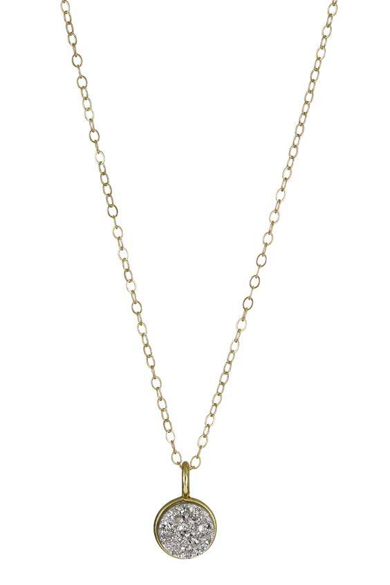 Gold filled mini druzy quartz pendant. Handmade in store in Dublin. #momuse #momusejewellery #dublin #boutique #jewellery #jewelry #pendants #gold #beautiful #simple #delicate #accessories #fashion #style #feminine