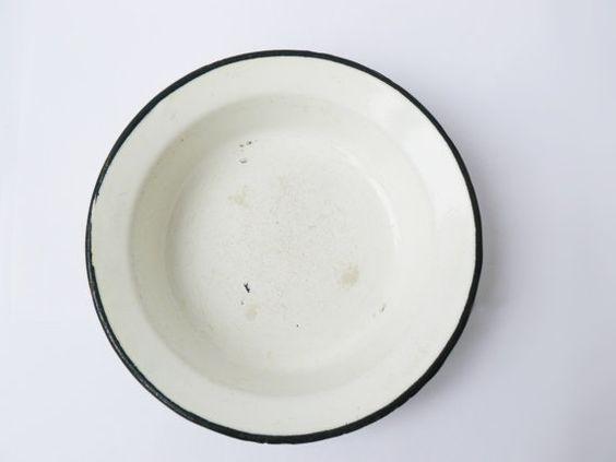 #Vintage white enamel bowl, small round bowl, Metal bowl, #Soviet Vintage dishware, white tableware, enamel deep plate, white plate Beautiful tableware for your kitchen and d... #vintage #etsy #soviet #nostalgishop #antiques #enamelware