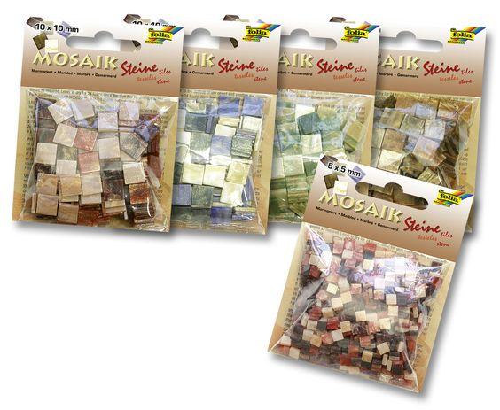 Mosaiksteine in verschiedenen Größen, Formen und Farben sorgen für eine optimale Verschönerung Ihrer Bastelprojekte. Mehr unter http://www.folia.de