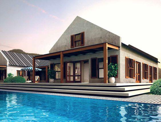 Modern vernacular cape dutch designed house in south for Cape dutch house plans