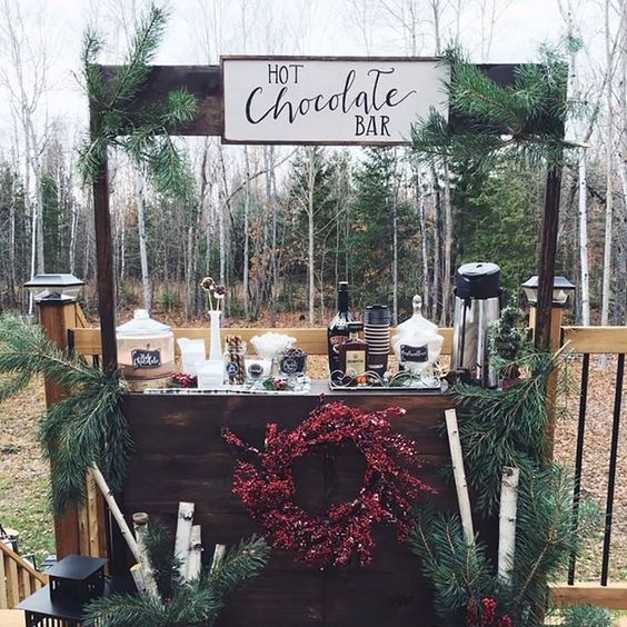 Stay warm at your winter wedding with an adorable hot chocolate bar. Great for receptions, cocktail hour, or the ceremony itself, allow your guests to warm up with the perfect wedding drinks.