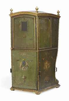A LOUIS XVI POLYCHROME-PAINTED LEATHER AND GILTWOOD SEDAN CHAIR, CIRCA 1785 The domed gadrooned moulded cornice surmounted by turned finials, above a stiff-leaf carved frieze, the uprights carved with berried-husks, the panelled sides with ribbon, on a berried foliate-carved moulded plinth, the sides decorated with ribbon-tied garlands, and with the coat-of-arms of the House of Orléans. Owned by The ducs d'Orléans, probably Louis Philippe II (1747-1793; duc d'Orléans 1785-93).