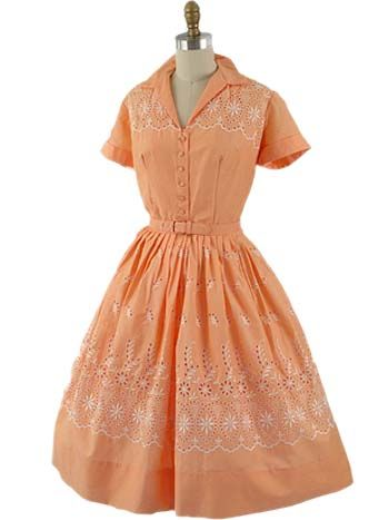 60&-39-s Embroidered Peach Eyelet Shirtwaist Dress - Shirtwaist dress ...