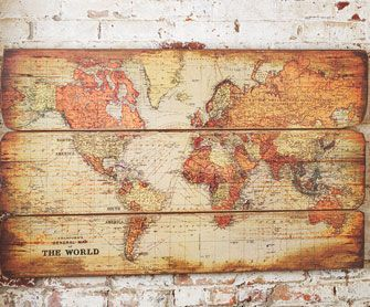 Take a map, cut to fit old wood or pallet pieces,age with stain or diluted paint, or even a tea wash, then adhere to the wood.