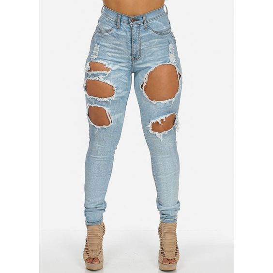 High Waisted Light Denim Ripped Skinny Jeans ($40) ❤ liked on