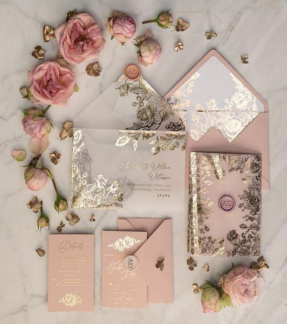 Convite para casamento elegante, charmoso e delicado.