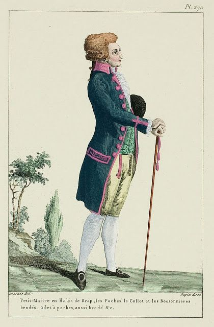 Petit-Maîtrein Wool Coat, the Pockets, the Collar, and the Buttonholes embroidered: Gilet with pockets, also embroidered etc.(1787) -Gale...: