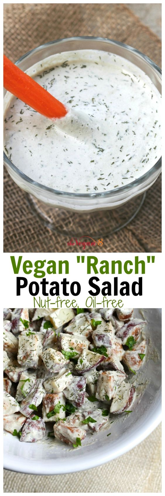 "Vegan ""Ranch"" Potato Salad that is oil-free, soy-free, gluten-free and only 8 ingredients! (+salt&water) and nut-free! http://TheVegan8.com"