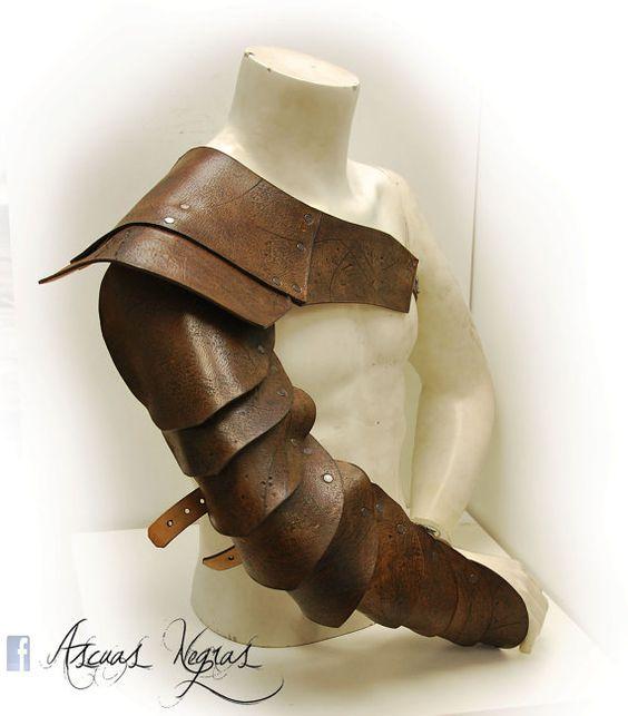 Gladiator Leather Shoulder Armor. Leather Manica. Roman