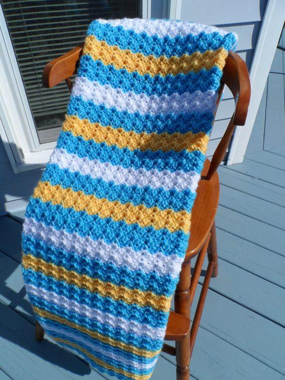 Crochet BABY BLANKET- Blue, Yellow, White Stripes - 33 x 42 inch ...