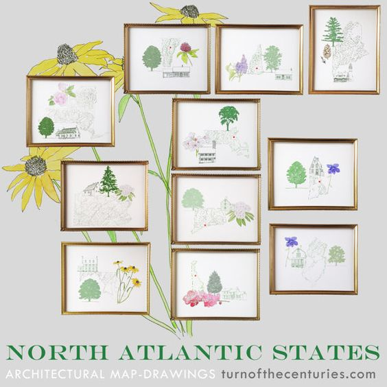 3 STATE MAP Prints for 33 dollars 8x10 Art by turnofthecenturies