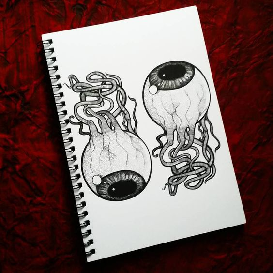 """'Eyeball' Spiral Notepad available  on my Red Bubble shop, each one is printed especially for you """