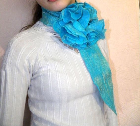 Felted necklace turquoise flower scarf/ spring fashion by Marywool, $34.00