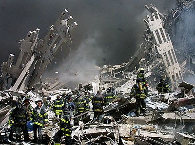 """September 11, 2001: By 7 pm the World Trade Center complex was being called """"Ground Zero."""""""