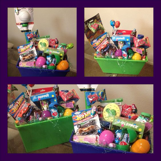 Easter Baskets I made! Toys, candy and I added a piggy bank and hid gold dollar coins in the eggs so they could save them! I also threw in a $2 bill! I love that they will be fascinated  with the rare currency!