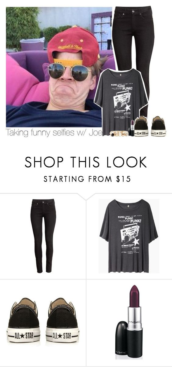 """Taking funny selfies w/ Joe"" by amberamelia-123 ❤ liked on Polyvore featuring H&M, R13, Converse, MAC Cosmetics and GUESS"