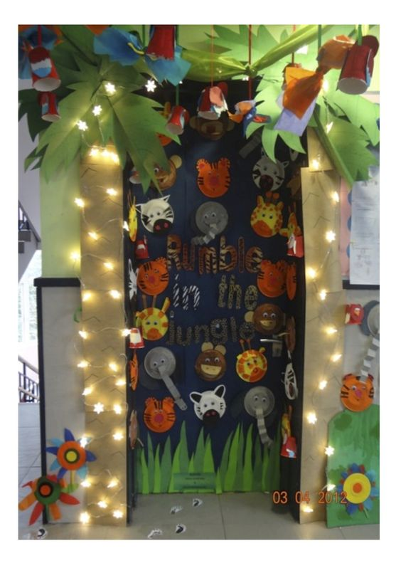 Classroom Rainforest Ideas : Classroom door display rumble in the jungle love