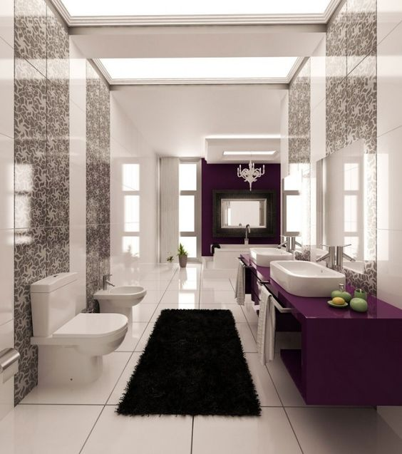 Modern Bathroom Design with Walls Graphic Print and Purple Color Accents