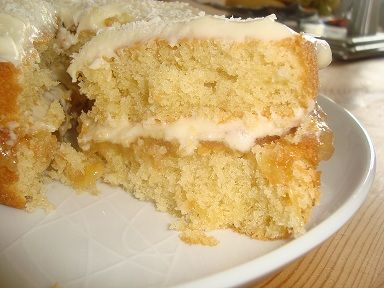 Deliciously tropical Coconut Cream Cake. Recipe at www.easyhomemadecakes.com