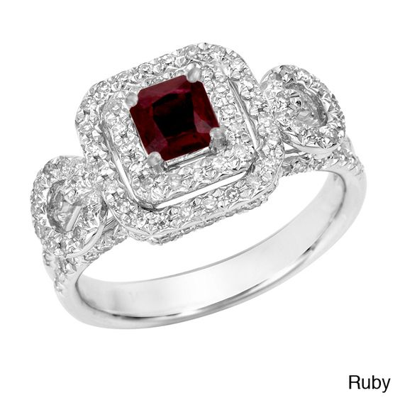 14k Gold Ruby or Sapphire and 2/5ct TDW Diamond Engagement Ring