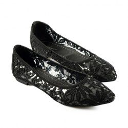 $19.77 Sexy Women's Flat Shoes With Lace and Openwork Design