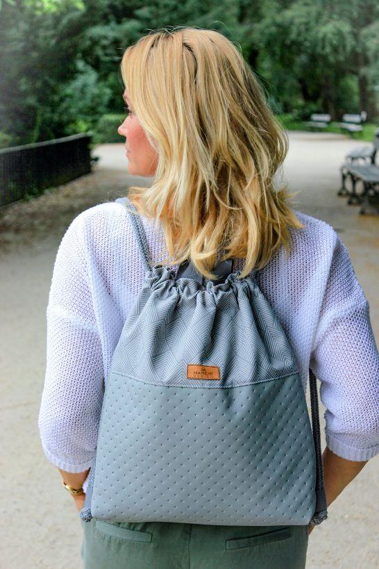 Plecak Worek Szary Fashion Fashion Backpack Drawstring Backpack
