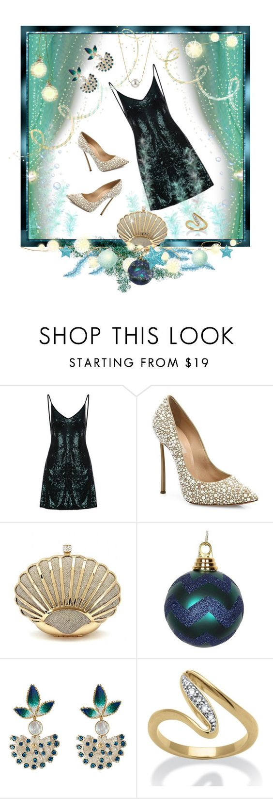 """Sea Fairies' Party"" by valeria-mezhevikina ❤ liked on Polyvore featuring Casadei, Gas Bijoux, Palm Beach Jewelry and partydress"