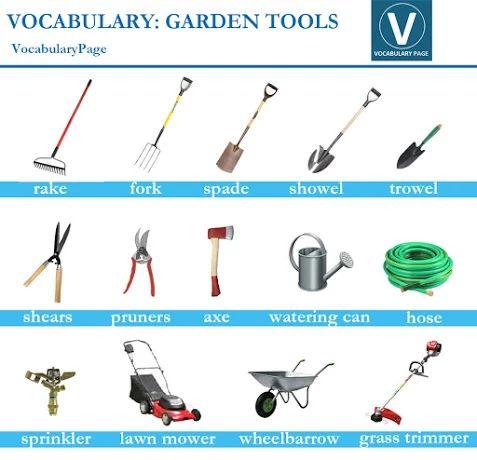 Garden tools vocabulary pictorial vocabulary pinterest for Garden implements list
