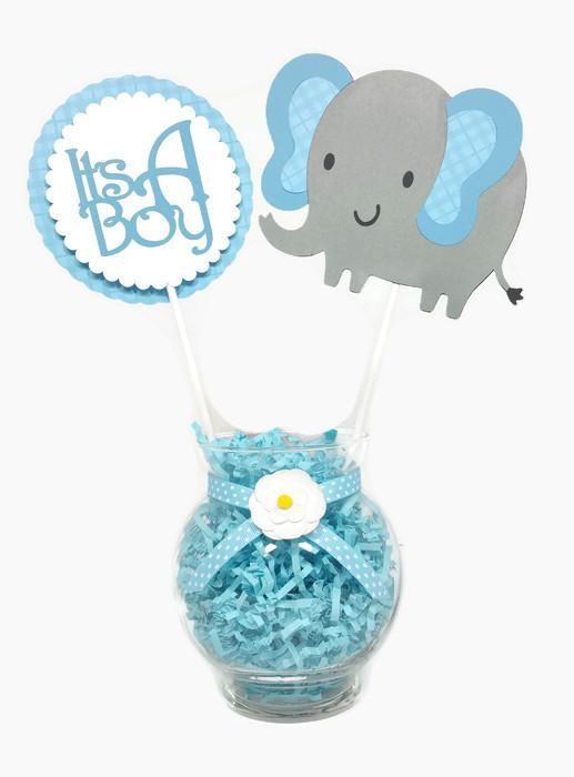 Baby Boy Elephant Centerpiece Sticks Cake Toppers Blue Plaid Boy Baby Shower Themes Elephant Centerpieces Baby Boy Shower