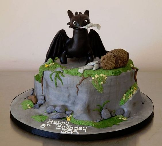 How to Train Your Dragon Cake - Dragon Birthday Party Food - Find more dragon and knight party ideas at http://www.birthdayinabox.com/party-ideas/guides.asp?bgs=140