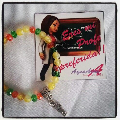 #AquaAura #pulsera de la mejor #profe #joyas #gifts #live #love