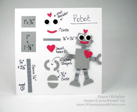 Stampin' Up! Punch art robot Valentine tutorial / cutting directions