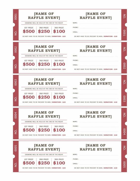 raffle ticket format Raffle tickets - Templates - Office - event tickets template