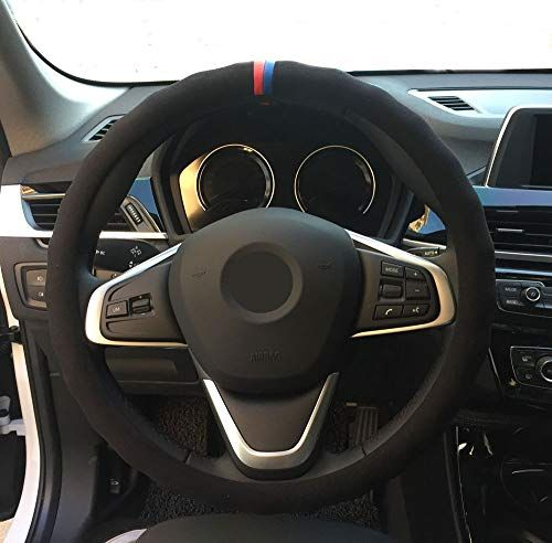 Eiseng Universal Black Suede Auto Car Steering Wheel Cover 15 Inch