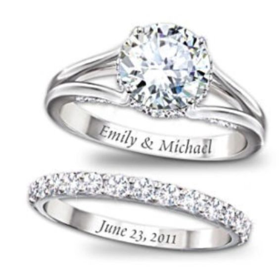 Love this idea - names on the engagement ring, and wedding date on the wedding band