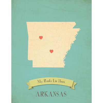 Children Inspire Design My Roots Arkansas Personalized Map Graphic Art on Wrapped Canvas
