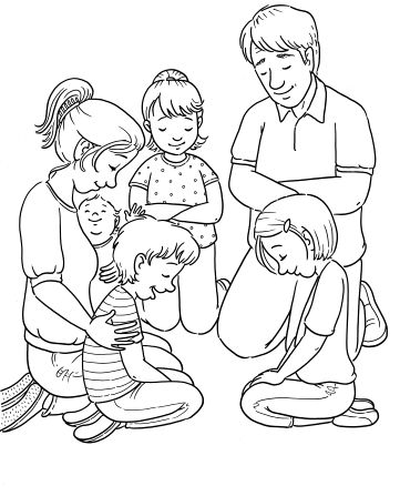 An image of a mother and father kneeling with their four children on the floor and praying.