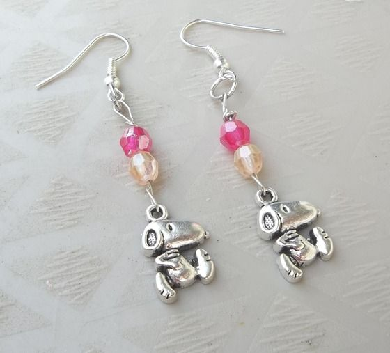 Snoopy Earrings Pink Accents Free Ship $7.50