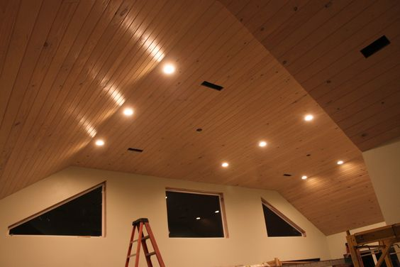 Pickled V Notch Pine Ceiling In South Alabama Sunroom