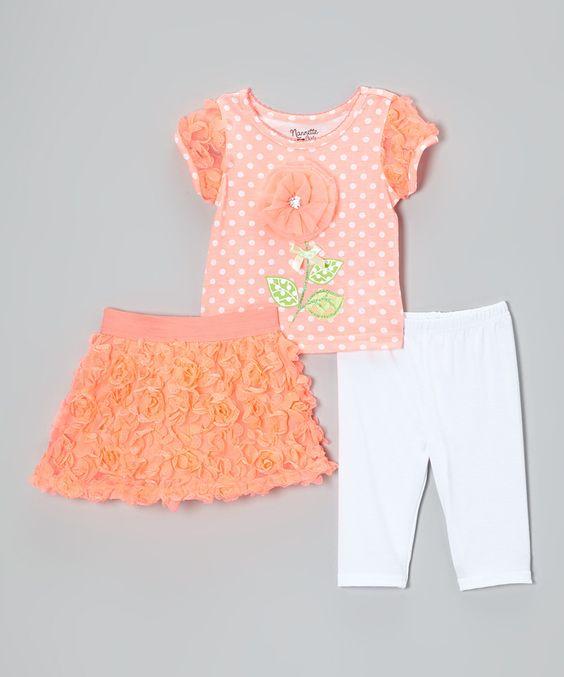 Coral Polka Dot Top & Petal Skirted Leggings - Girls by Nannette Girl #zulily #zulilyfinds. $16.99, 4-6X