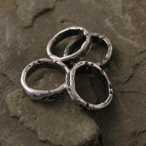 one link Sterling Silver Rustic Artisan Chunky Jewelry Link and Connector