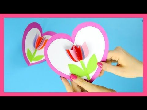 Tulip In A Heart Card Step By Step Valentines Day Or Mothers Day Card Tutorial Youtube Tulips Card Pop Up Card Templates Card Tutorial