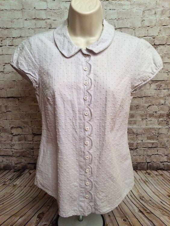 BODEN Beige Cream Scallop Detailed Short Sleeve Button Down Cotton Shirt US Sz 4    eBay