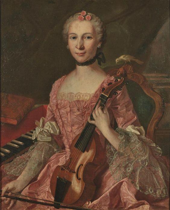 """École française du XVIIIe siècle """"Portrait de la duchesse Marie-Louise-Charlotte Duchesne de Rouville, 1763"""