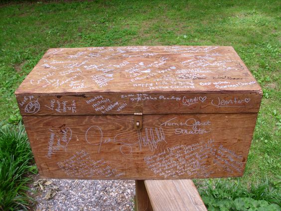 Sign the old keepsake box instead of guest book.