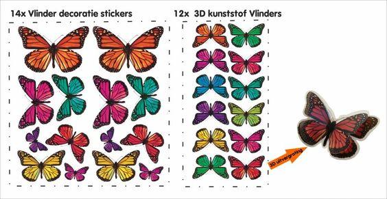 Decoratie stickers: kunststof vlinders muurdecoratie stickers ...