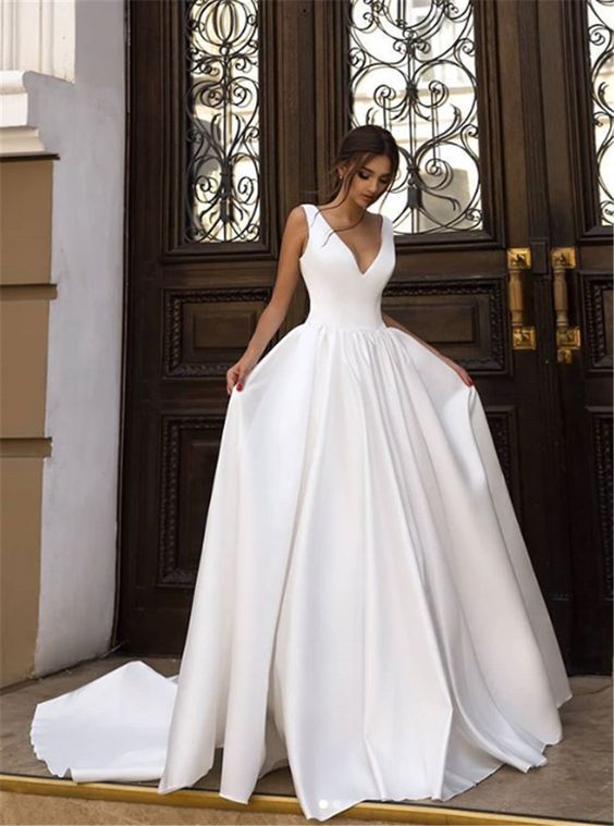 Elegant A Line V Neck Open Back White Satin Wedding Dresses With Train Simple Wedding Gown In 2020 Gorgeous Wedding Dress Top Wedding Dresses Simple Wedding Gowns