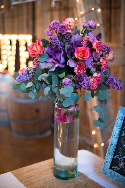 Informal Rustic Gray Orange Purple Barn Decor Rose Summer Wildflower Wedding Flowers Photos & Pictures - WeddingWire.com