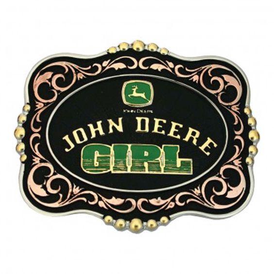 Montana Silversmiths Tri Color John Deere Girl Attitude Buckle