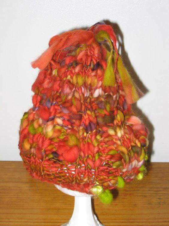 Handspun Knit Merino Thick n Thin Hat by craftycabinwoolens, $40.00